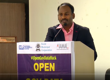Shri M Nagarajan (IAS) speaks at the #OpenGovDataHack Surat